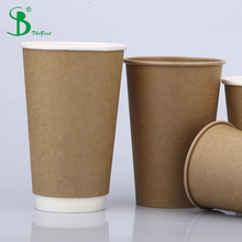 Kraft brown 16oz disposable paper cup for hot coffee milk and soup with lid eco-friendly
