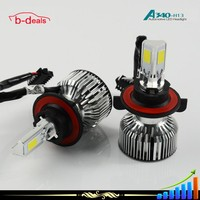 B-deals 3 sides COB 360 degrees 40W 3600lm supper cooling built-in fan&copper led light bulb for car A340 h13
