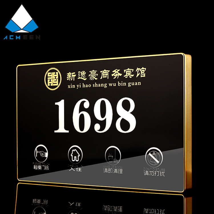 hotel digital led back light electronic door plates room number plates