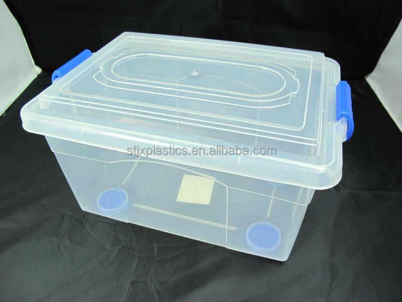 Household large PP plastic storage container with flat lid
