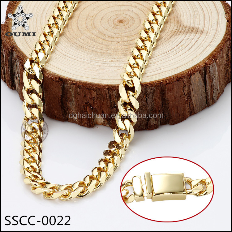 Chain jewelry factory 316l stainless steel 10mm curb chain dubai gold plated jewelry set