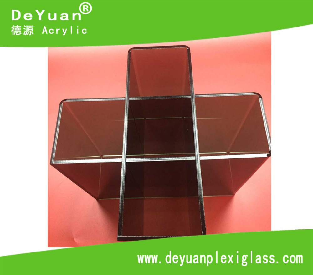 Transparent Black Acrylic Holder Stand With 5 Slots / Plexiglass Wine Display