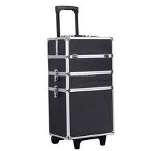 Rolling Makeup Train Case Aluminum Professional Artist Trolley Case Cosmetic Organizer Box with Lift Handle and Lock 2 Wheels