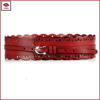 women cowhide leather wide waistband PU leather custom cutting belt replica designer punching pattern genuine leather wide belt