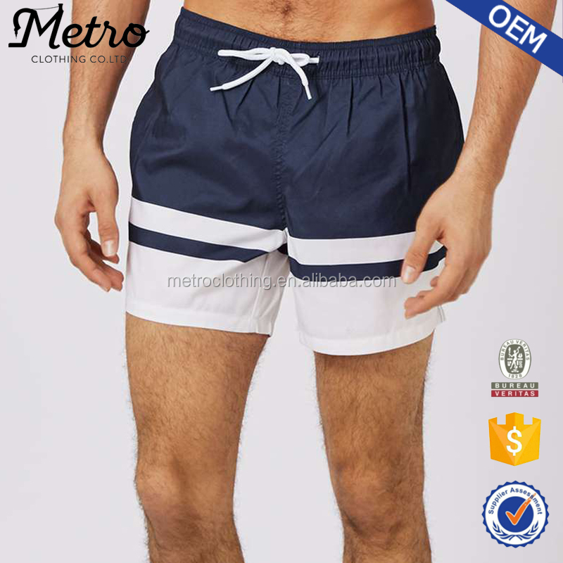 100% Polyester Latest Design Men's Stripe Swim Shorts
