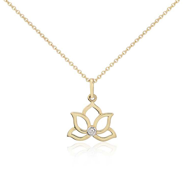 Gold Plated Mini Lotus Shape Diamond Pendant Charm Necklaces Jewelry With Bezel Setting