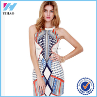 Yihao 2015 New Sexy Women Printed Mini Sundress Personalized Basic Sleeveless Vest Dress Stretch Bodycon Dress AD-002