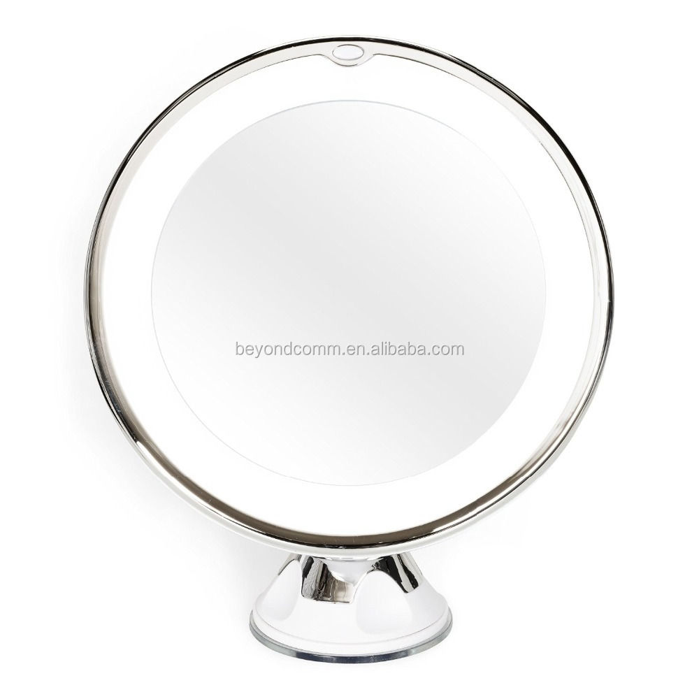LED 10X Magnifying Makeup Mirror - Portable Cosmetic Beauty Mirror with Light - , Battery Operated, Suction Mount, 6""