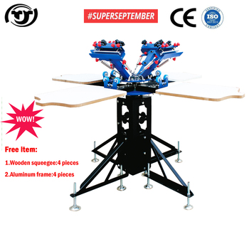 SUPER SEPTEMBER Manual 4 color 4 station carousel screen printing machine