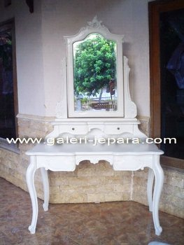 French White Painted Furniture - Wooden White Dresser Mirror - Wooden Mahogany Furniture