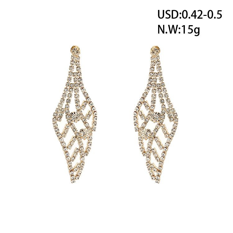 wayzi brand fashion earring designs new model earrings white rhinestone wedding gold leaf earring