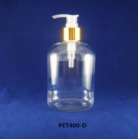 400ml PET plastic round clear bottle with shiny aluminum pump