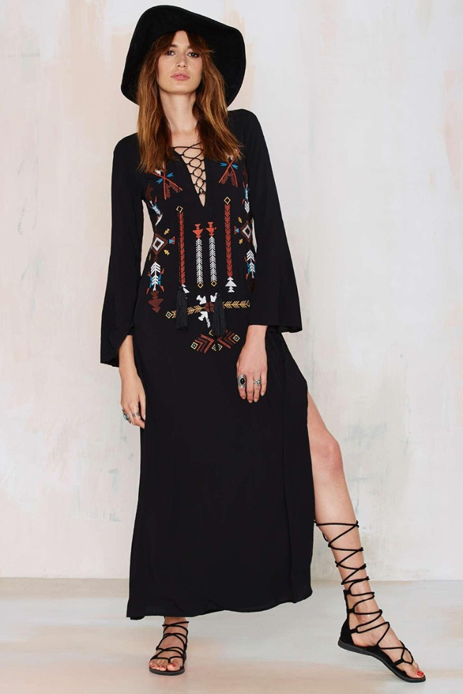 women clothing 2017 Indian pattern style embroidered dress long sleeve maxi dress for women