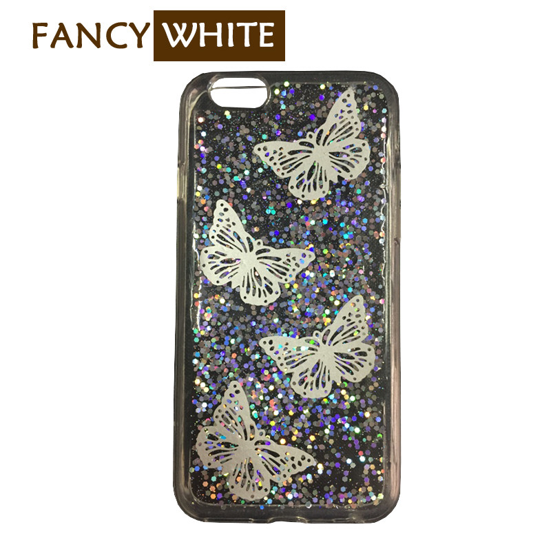 Personalized liquid glitter clear plastic protective cover for mobile phone