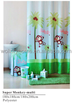 Polyester Shower Curtain With Matching Hamper Set, Cartoon Super Monkey  Design Childlike Bathroom Set