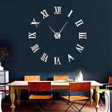Modern Design DIY Large Wall Clock 3D Wall Sticker Mirror Time Clock Roman Numerals Big Time Clock Creative Home Decor