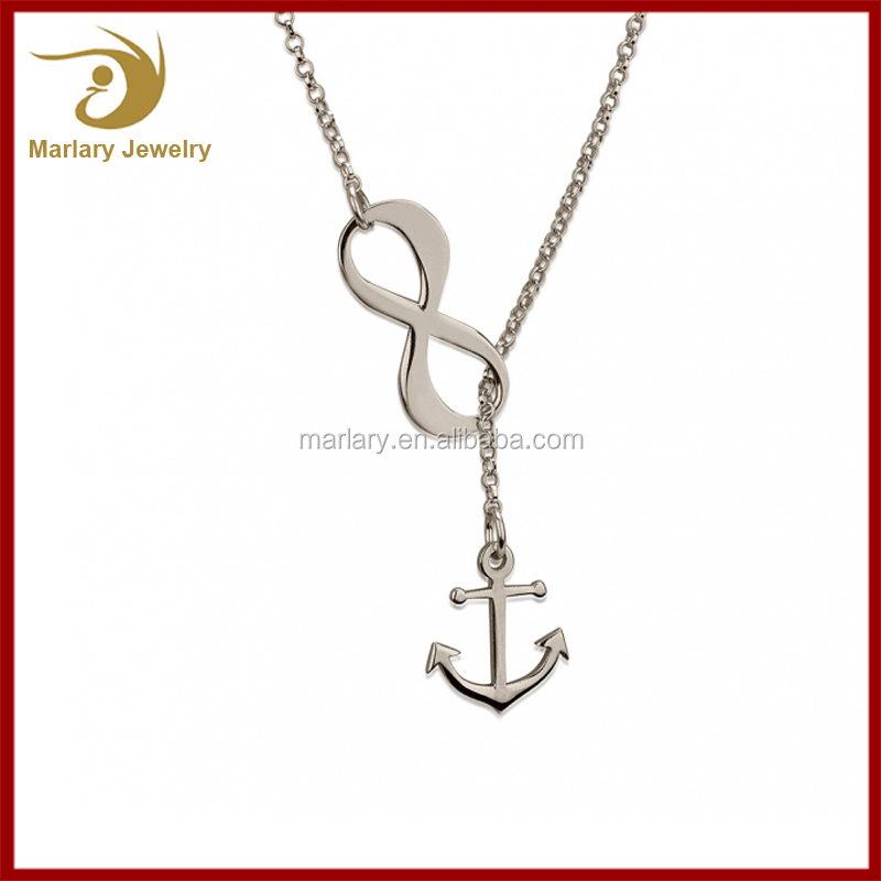 Fashion Stainless Steel Brave Girls Friendship Jewelries Pendant Anchor Infinity Necklace