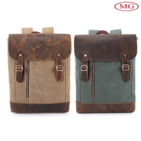 wholesale British style genuine leather canvas backpack for college online shop