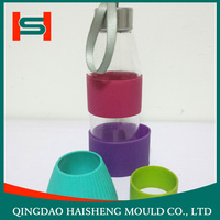 Reuseable custom silicone rubber anti slip bottle /coffee /tea cup sleeve