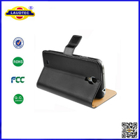 Genuine Real Leather Wallet Stand Case for Samsung Galaxy S4 Mini I9190 Case Made in China Laudtec