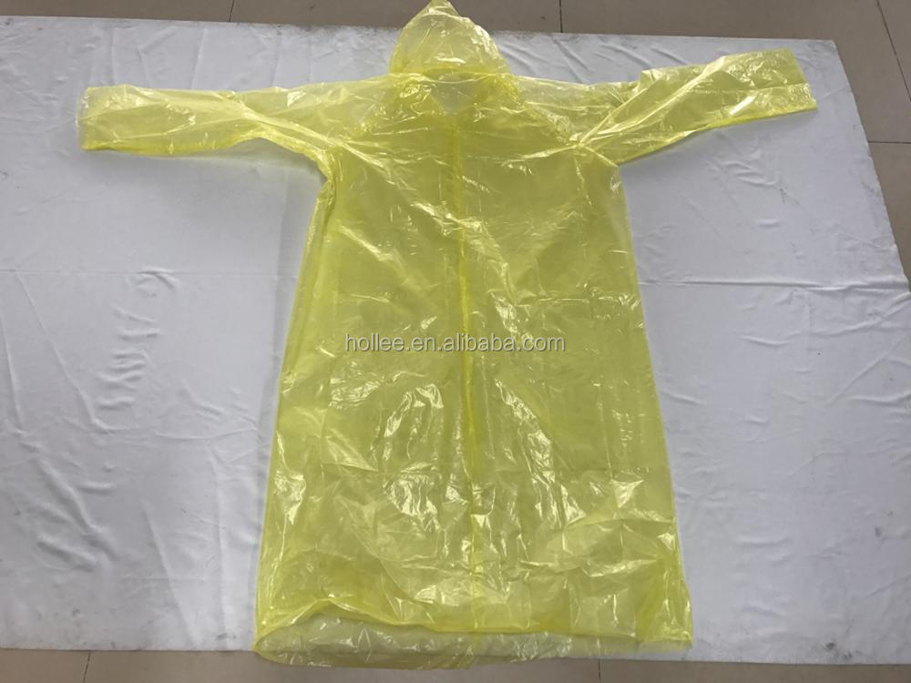 OEM disposable long sleeve PE rain coat