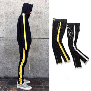Custom Color Block French Terry Drawstring Jogging Pants Men Wholesale Mens Track Pants With Zipper Cuff