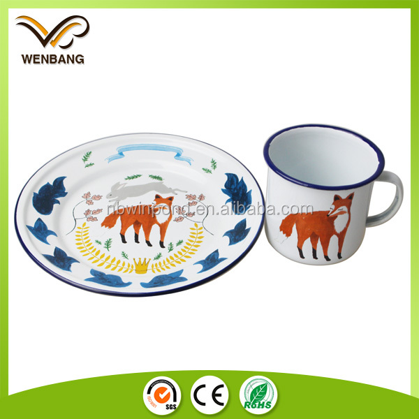 Custom dinner service enamel plate, wholesales high quality bulk china tea cups and saucer