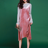 /product-detail/ladies-pink-fashion-velour-fabric-v-neck-spaghetti-strap-dress-60620605666.html