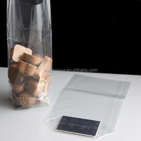 China made cellophane sweets bag square bottom bag with paper card