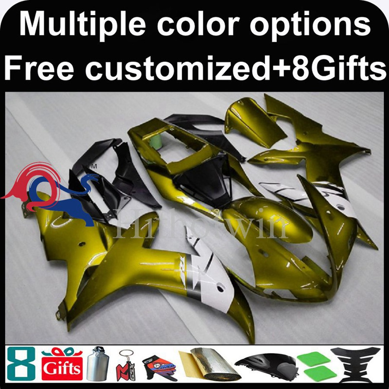 gold Body motorcycle cowl for Yamaha YZF-<strong>R1</strong> 2002-2003 <strong>02</strong> <strong>03</strong> YZFR1 2002 2003 <strong>02</strong>-<strong>03</strong> ABS Plastic Fairing