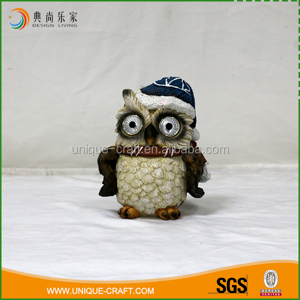 Specialized design custom color home decoration portable resin owl with eyes light