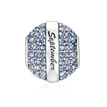 September Birthstone Dark Blue Crystal Charm,European Charm Beads