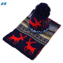 Stylish New Womens Ladies Sweet Deer Pattern Winter Warm Thickening Knitted Long Scarf Shawl + Ski Hat Set
