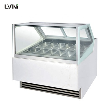 LVNi 12 containers Italian ice cream scoop display freezer refrigerator cabinet gelato round showcase