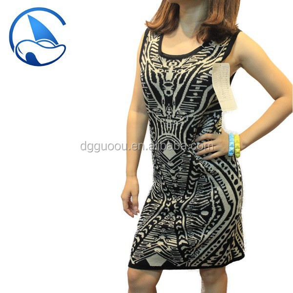 Latest Sexy Dress Designs Jacquard Knitwear