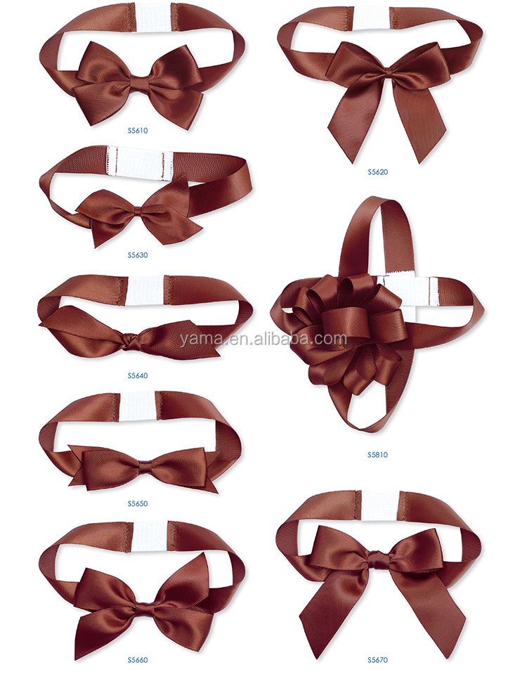 Yama factory customized exquisite polyester grosgrain satin ribbon pre-made/tied gift packing bows