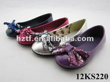 Girl Patent PU Ballerina Flats with Sequin Bow