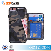 Cool Camouflage Stand Genuine Leather Mobile Case Cover For iPhone 6 Plus 6S Plus with Card Slots