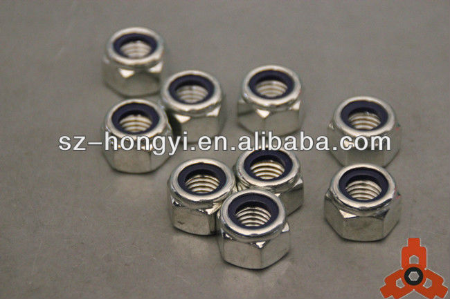 galvanized steel m10 lock nut nylon insert