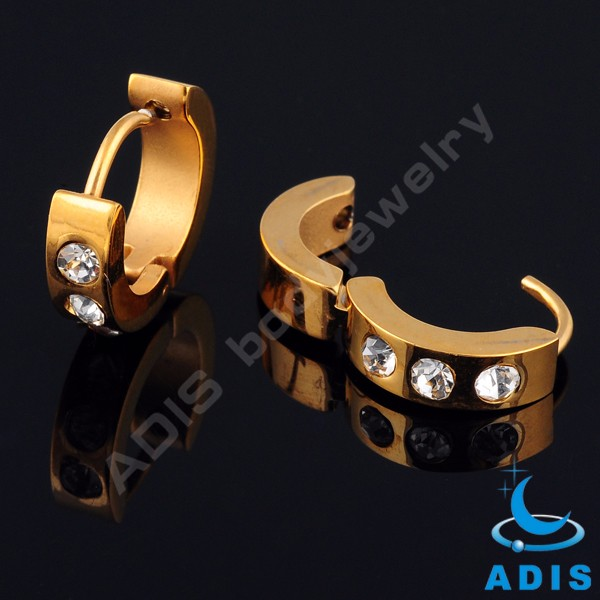 Women fashion jewelry stainless steel gold colored hoop earrings with three gems