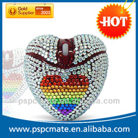 PS-MD004 Glitter heart-shaped COMPUTER MOUSE laptop PC like diamond red wired mouse
