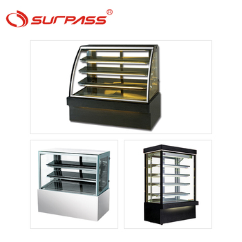 Commercial four glass refrigerator showcase curved display stands cake fridge for sale