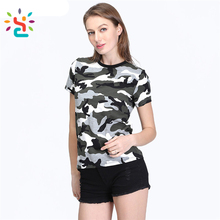 High Quality camoflage cotton t shirt Women Camouflage T font shirt Fashion camo tee shirts Factory direct sales Army clothing