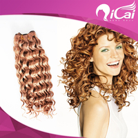 Qicai cheap Brazilian virgin remy human hair weft extensions kinky curly blonde hair weave