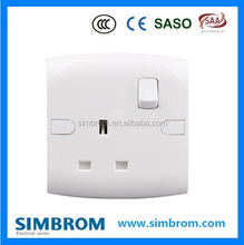 UK 13A socket, 3 Pin square type electrical wall socket with switch
