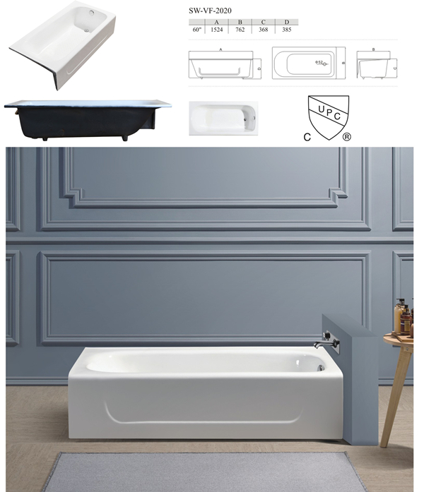 60'' Rectangle Apron Custom Cheap Cast Iron Bathtub for Sale