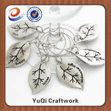 Personalized leaf shape engraving sterling silver pendants wine charm