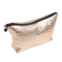 hot sale makeup bag leather crocodile gold travel custom makeup bag