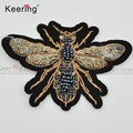 2017 high end 3D toothbrush beaded bee custom embroidered patch WEFC-065
