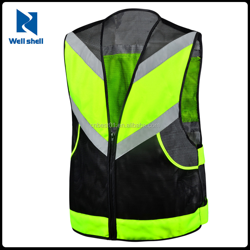 mesh fabric high Visibility Reflective Strips Neon black Safety Vest motorcycle reflective safety vest